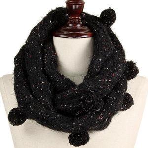Multi Knit Pom Pom Infinity Scarf Black